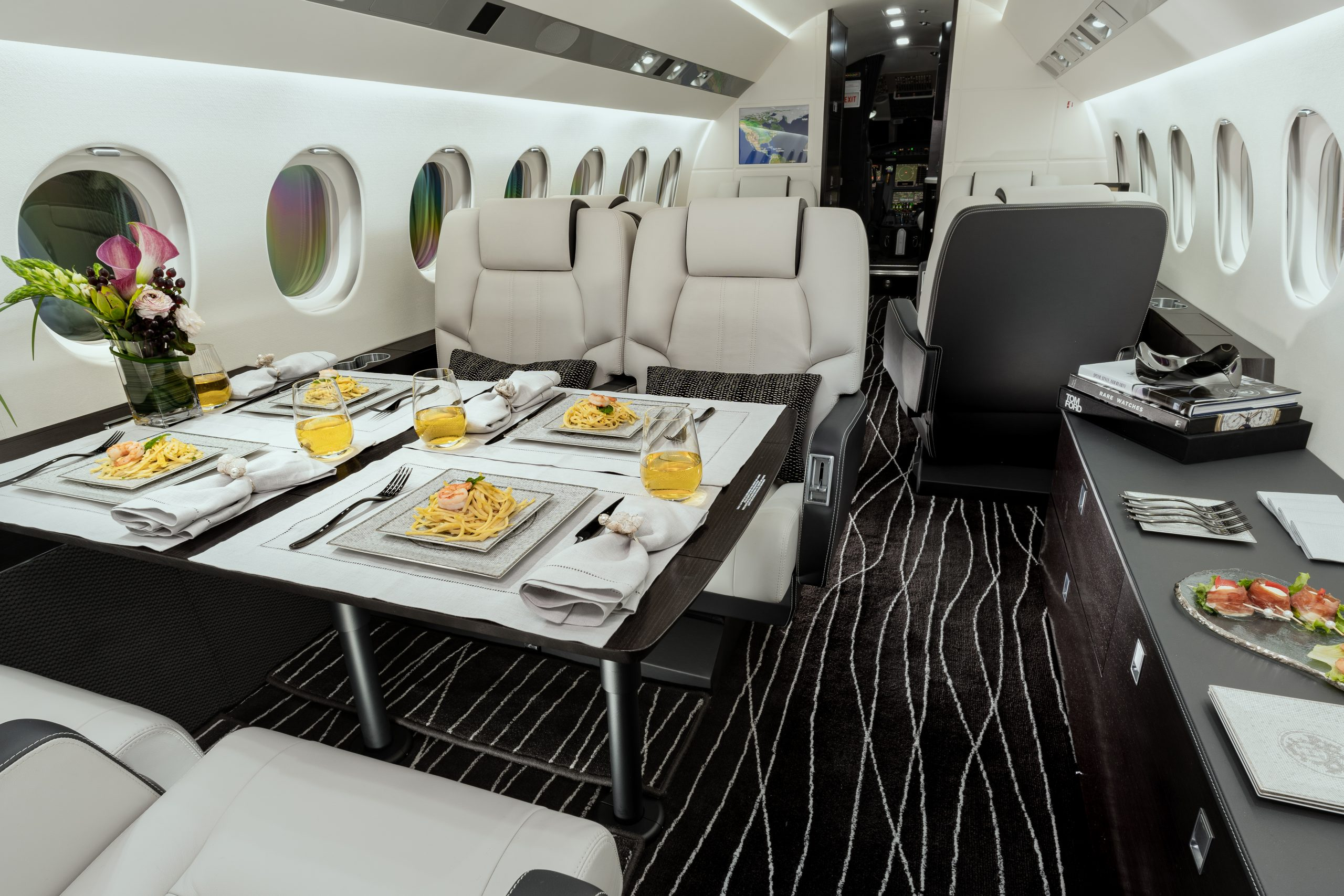 Falcon 900DX Private Jet Designed By International Jet Interiors Features L'Ame de Christofle