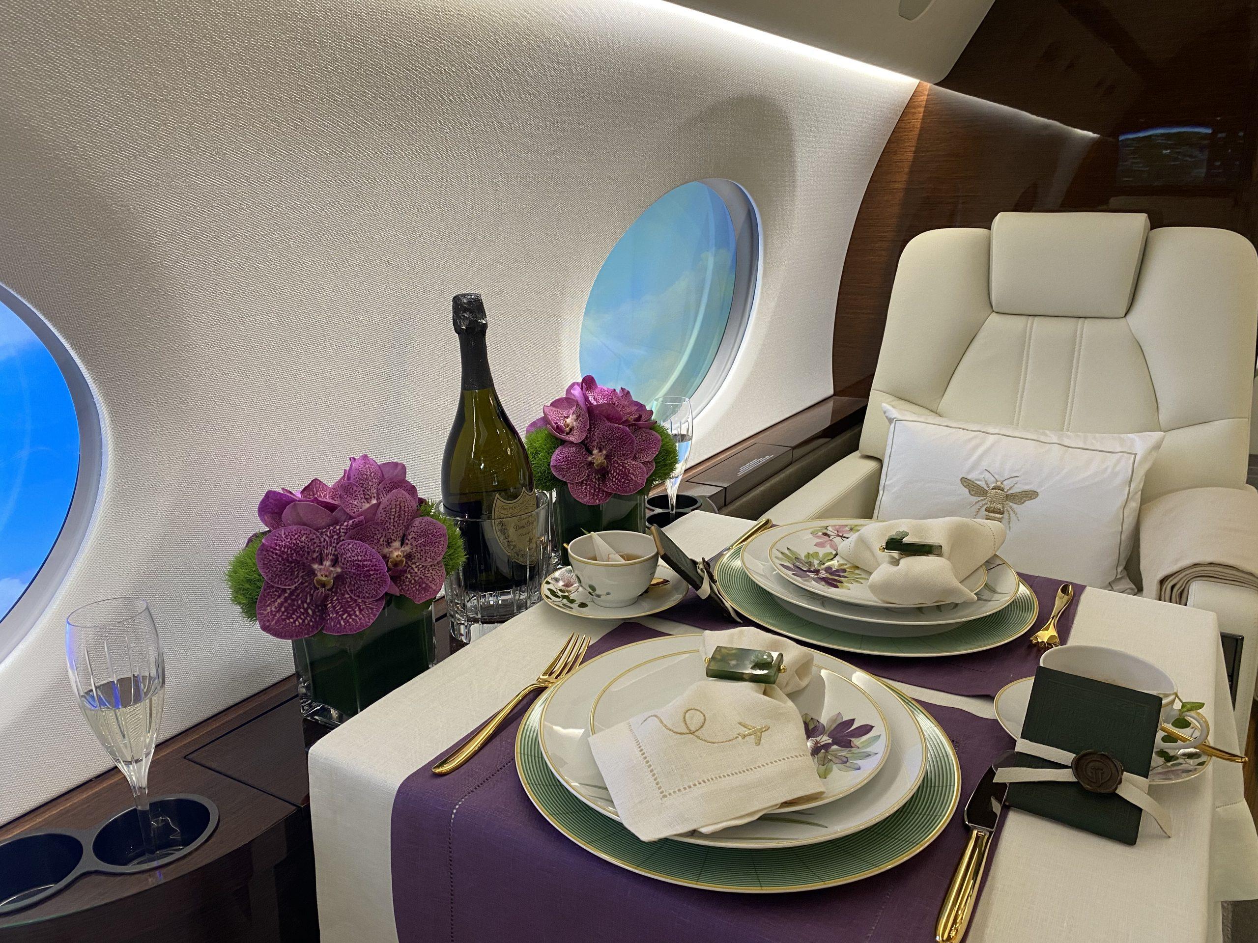 International Jet Interiors Summer Soiree at 40,000 Feet Featuring Bernardaud, SFERRA and Christofle